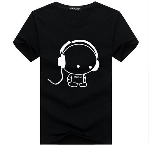 Binyuxd Top Quality T Shirts Fashion Headset Cartoon Printed