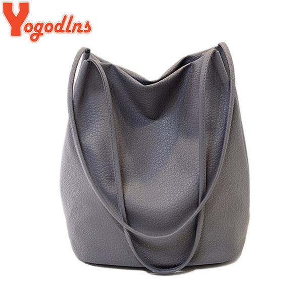 Yogodlns Women Leather Handbags Black Bucket Shoulder Bags