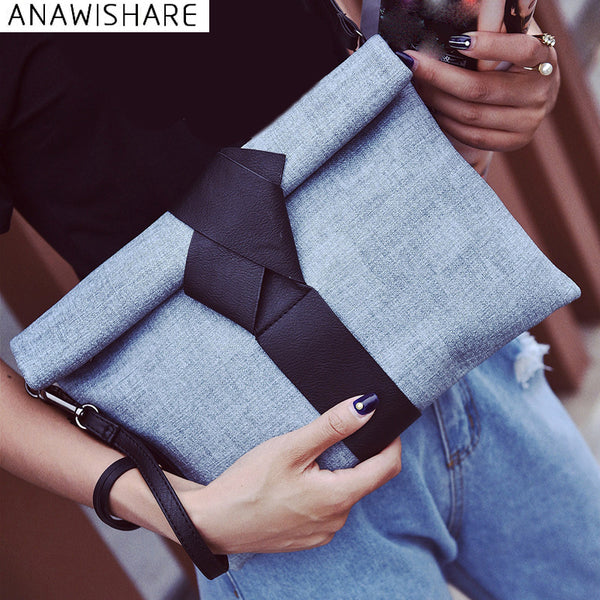 Anawishare Women Day Clutches Bags Bow Leather Crossbody Bag