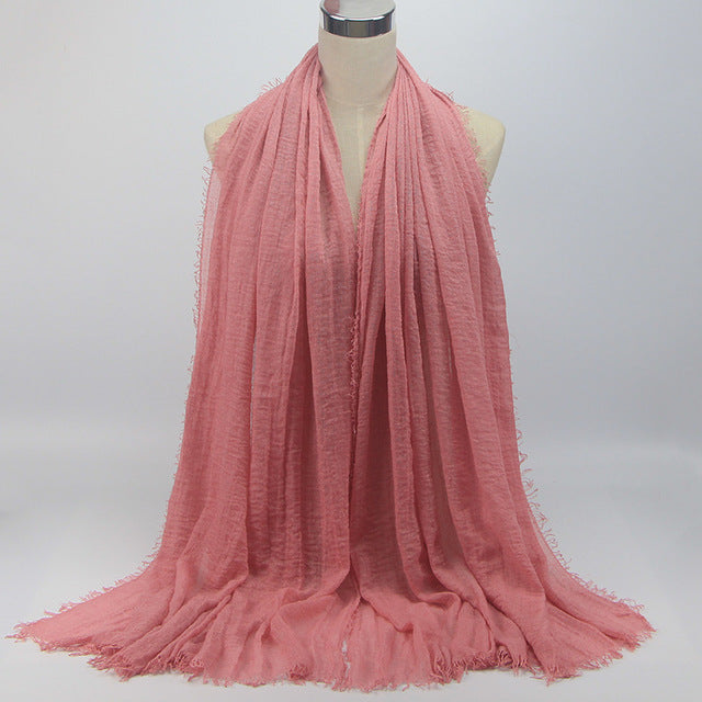 Bubble Plain Scarf/Cotton Scarf Fringes Women Soft Solid