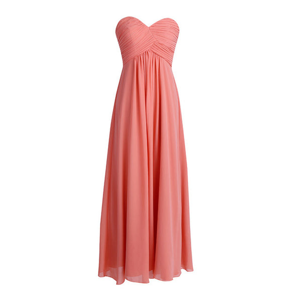 Tiaobug Wedding Formal Bridesmaid Dress Pink Long