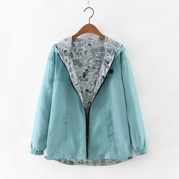 Autumn Women Bomber Basic Jacket Pocket Zipper Hooded