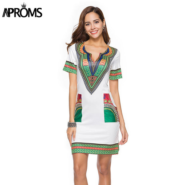 Aproms V-Neck Pocket Patchwork Bodycon Tunic Dress