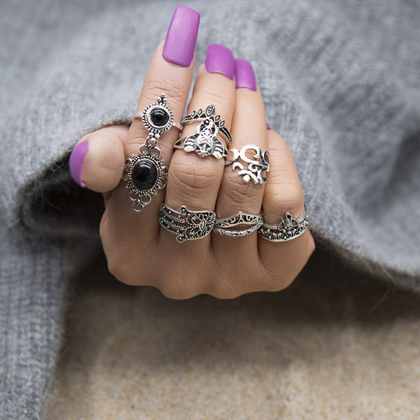 Ravimour 7 Style Vintage Knuckle Rings For Women Boho