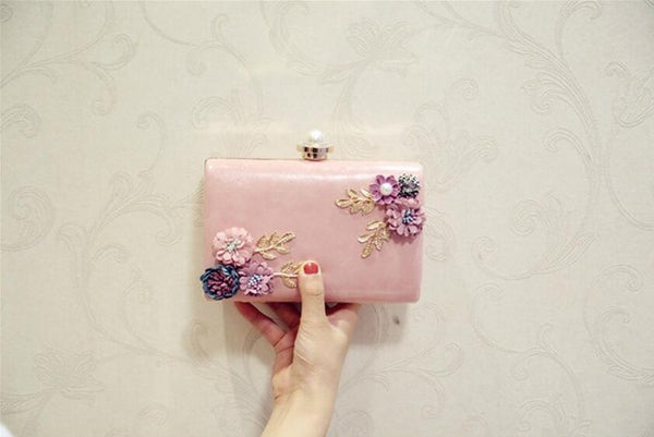 Meloke High Quality Women Handmade Flowers Evening Bags