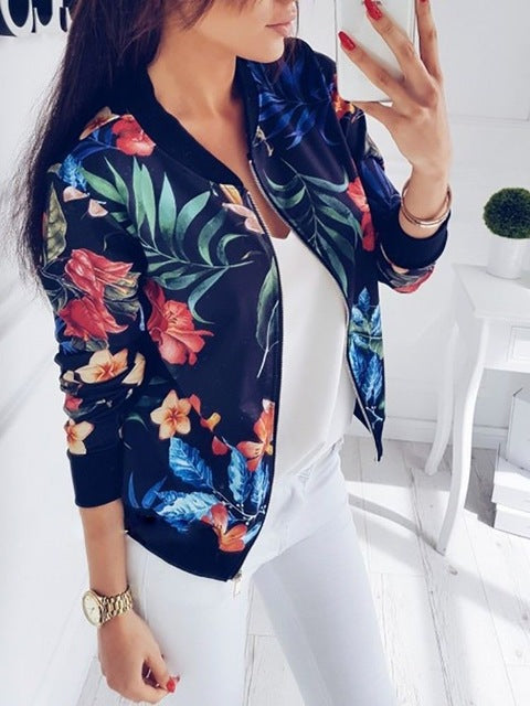 Women Coat Fashion Ladies Retro Floral Zipper Up Bomber