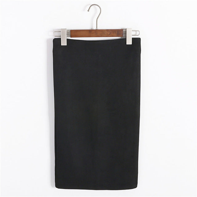 Multi Colors Women Skirt Winter Solid Suede Work Wear