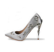 Boussac Elegant Silk Women Pumps High Heels Rhinestone