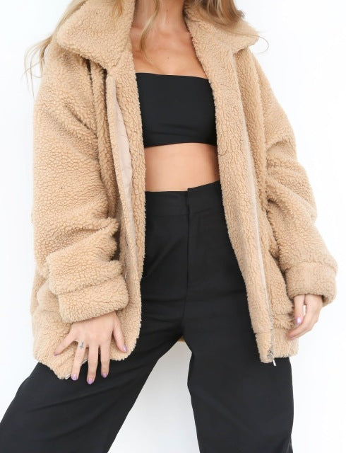 Women Coat Winter Long Sleeve Oversized Loose Knitted Jumper