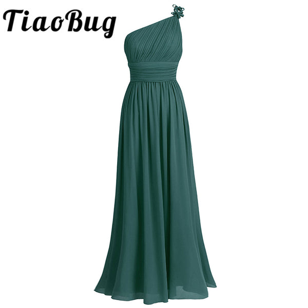 Tiaobug One Shoulder Bridesmaid Dress Summer Chiffon Beach