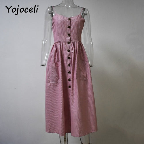 Yojoceli Striped Button Sasual Summer Strap Dress Long