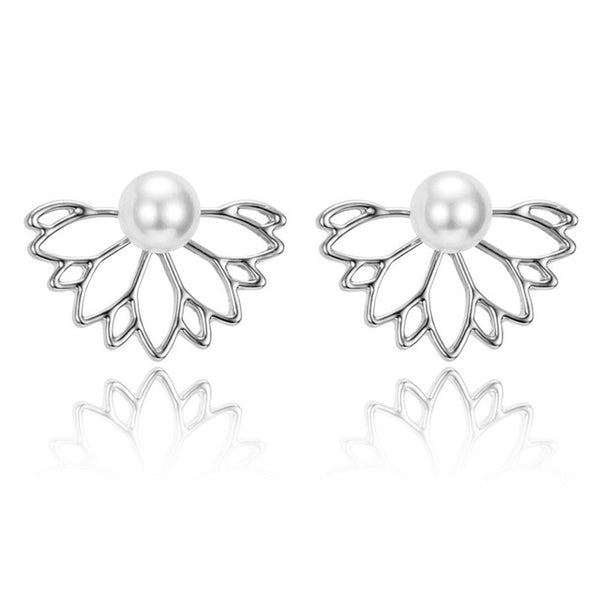 Iparam Lotus Crystal Jacket Flower Stud Earrings For