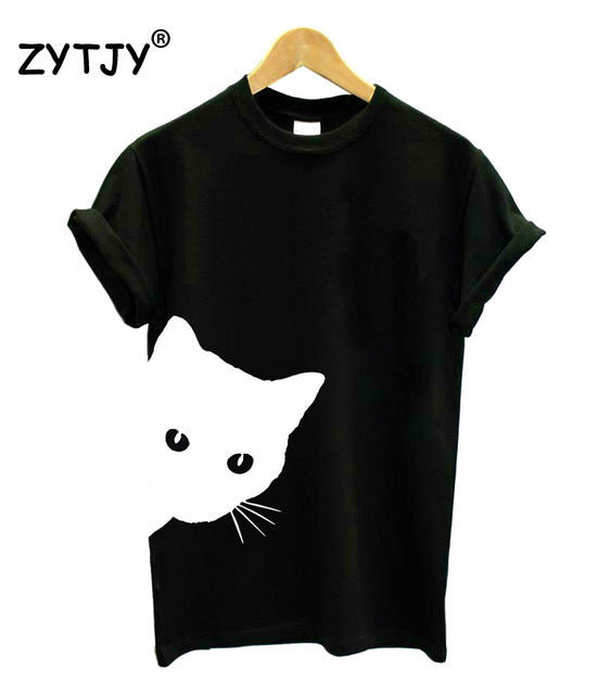 Women T-shirt Cat Looking Outside Print Cotton Casual
