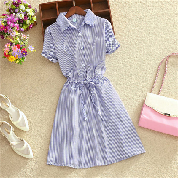 Elegant Office Summer Dress Shirt Elegant Blue Stripped
