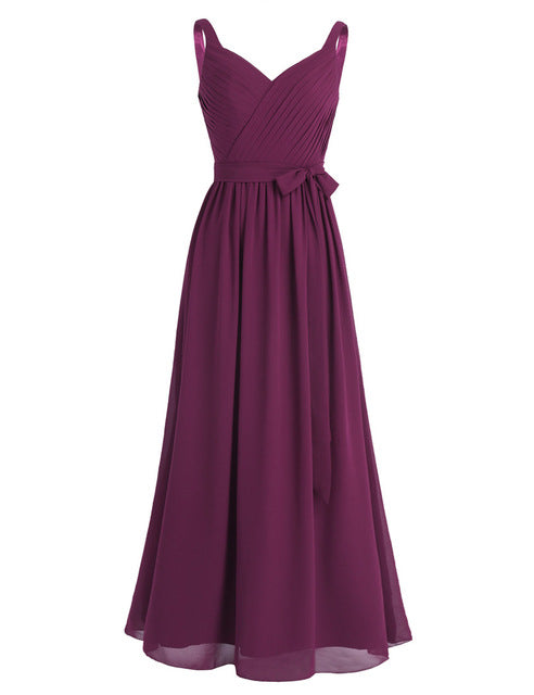 Women Ladies Sleeveless Bridesmaid Dress Pleated V Neck