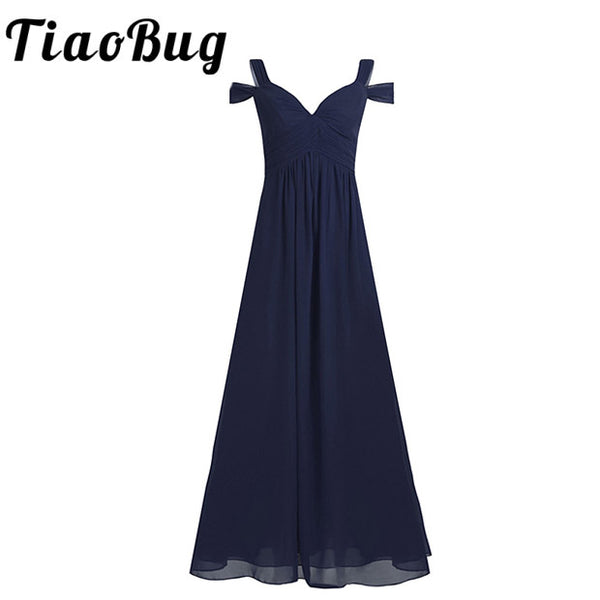 Women Ladies Chiffon Off-The-Shoulder Long Bridesmaid