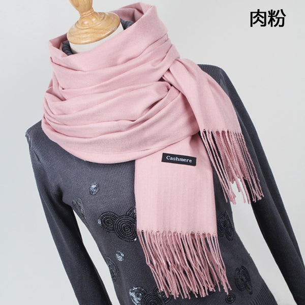 Women Solid Color Cashmere Scarves With Tassel Lady Winter