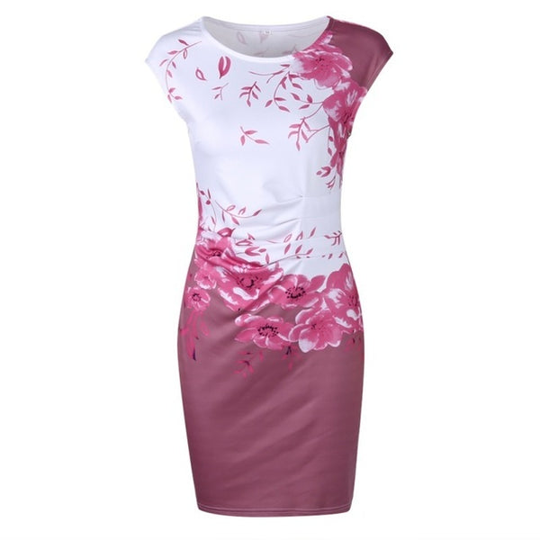 Summer Floral Women Dress Plus Size 3Xl Elegant