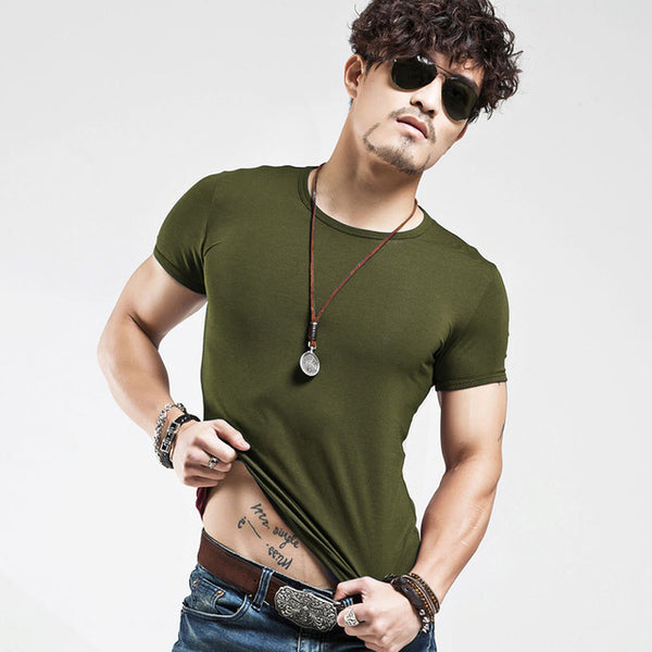 Men'S Tops Tees Summer New Cotton V Neck Short Sleeve T