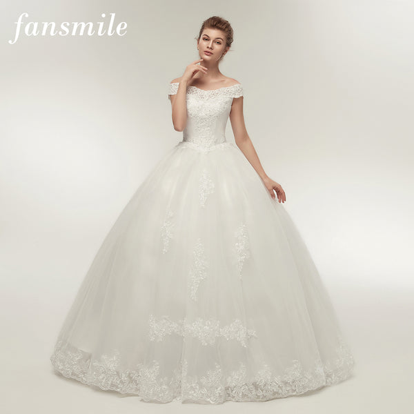 Fansmile Korean Lace Applique Ball Gowns Wedding Dresses