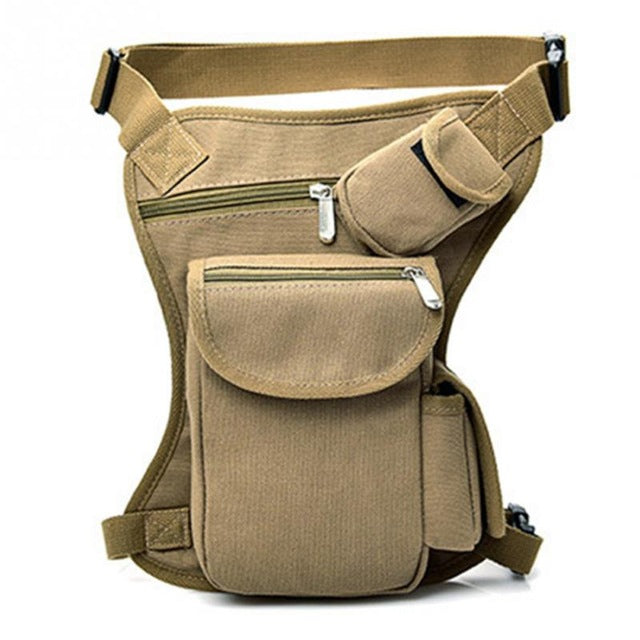 Men Canvas Drop Leg Bag Waist Fanny Pack Belt Hip Bum