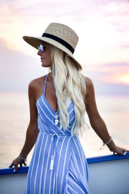 New Women Summer Boho Maxi Long Dress Striped Halter Evening