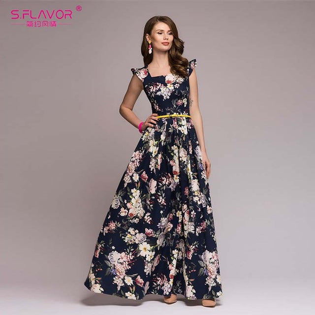 S.FLAVOR Women Printing Party Dress