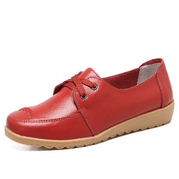 O16U Women Casual Shoes Genuine Leather Lace Up Moccains