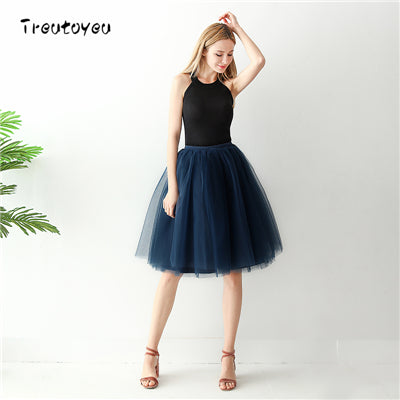 7 Layers Midi Tutu Tulle Skirt High Waist Pleated Skater