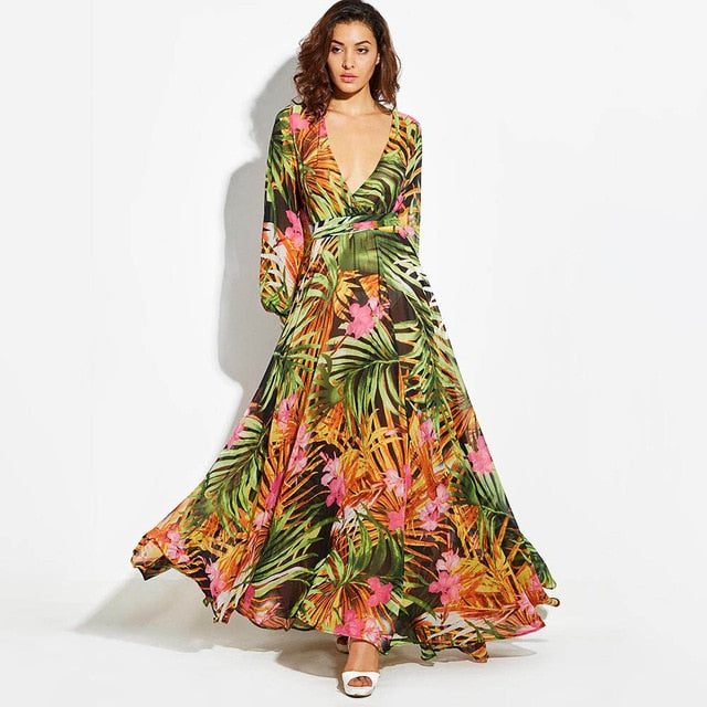 Green Tropical VLong Sleeve Dress Beach Vintage