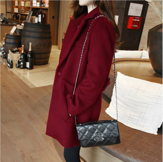 Women Long Woolen Coat Female Winter New Loose Overcoat