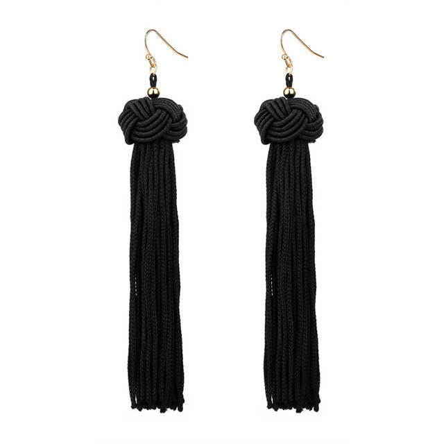 Crazy Feng Handmade Tassel Earrings Trendy Black Red