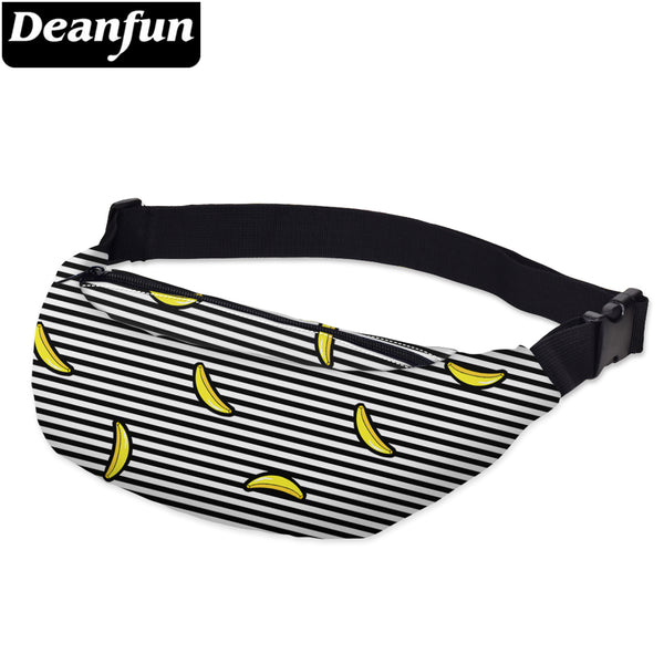 Deanfun 3D Printed Waist Bags Pack Striped With Banana