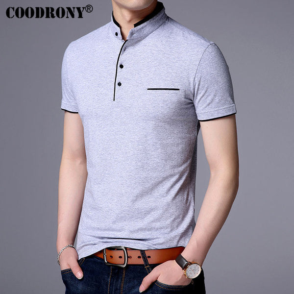 Coodrony Mandarin Collar Short Sleeve Tee Shirt Men