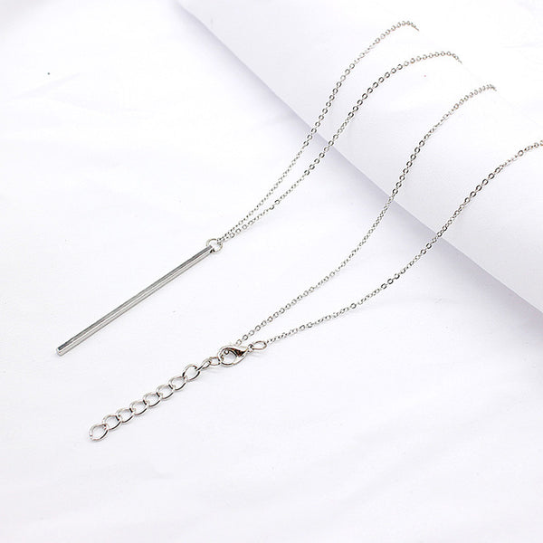 Simple Classic Fashion Stick Pendant Necklace Hollow Girl