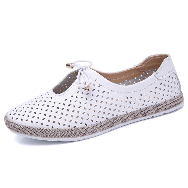 O16U Women Flats Shoes Ballet Flat Sneakers Genuine