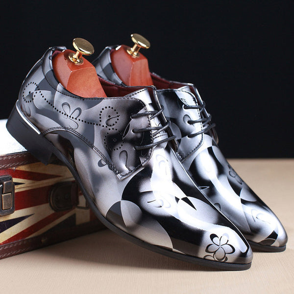 Gnome Men Dress Shoes Floral Pattern Men Formal Shoes