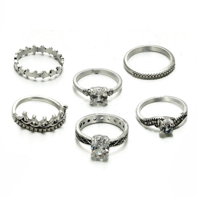 Docona Bohemian Crown Star Carved Knuckle Rings Set For