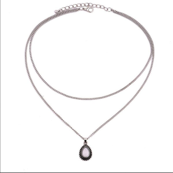 Rscvonm New Fashion Double Horn Necklace Crescent Water Drop