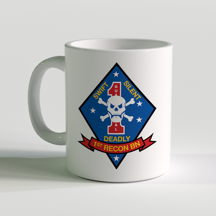 1st Recon Bn, 1st Recon Bn Coffee Mug, swift silent deadly