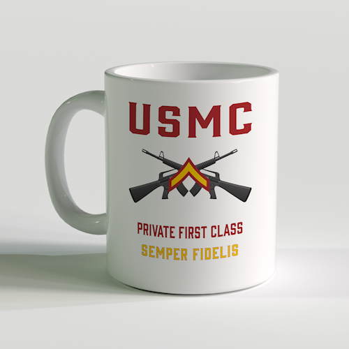 PFC Coffee Mug, USMC PFC Mug, Private First Class Coffee Mug