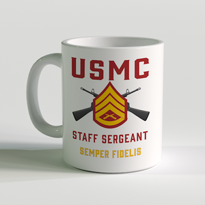 SSgt Coffee Mug, Staff Sergeant Coffee Mug, USMC Rank Mug