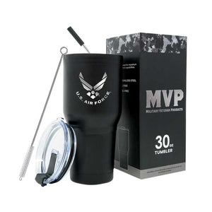 30 oz Air Force Black Double Wall Vacuum Insulated Stainless Steel Air Force Tumbler