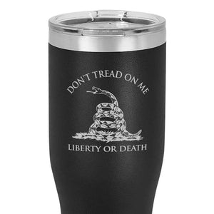Gadsden Flag 20 oz Black Double Wall Vacuum Insulated Stainless Steel Gadsden flag Tumbler Travel Mug
