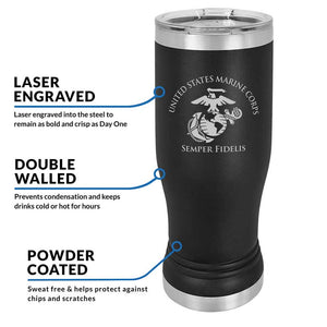 20 oz USMC Black Double Wall Vacuum Insulated Stainless Steel USMC Tumbler Travel Mug, USMC Travel Mug, USMC Cup