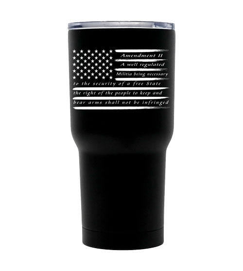 2nd Amendment Double Wall Vacuum Insulated Stainless Steel American Flag Tumbler
