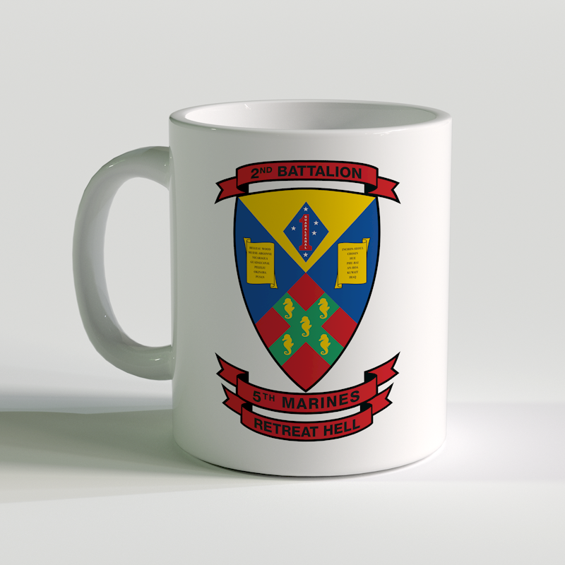 2/5 coffee mug, 2nd Bn 5th Marines, USMC Coffee Mug, Retreat Hell