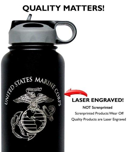 Silver Laser Engraved USMC Water Bottle