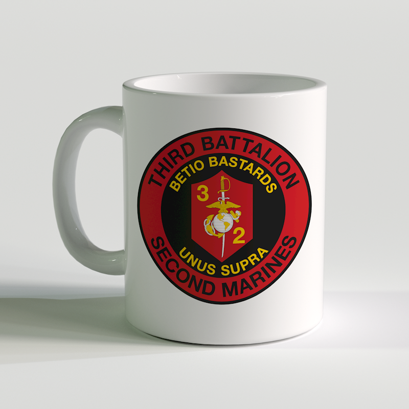 3/2 unit coffee mug, 3rd Battalion 2nd Marines, Betio Bastards, unus supra