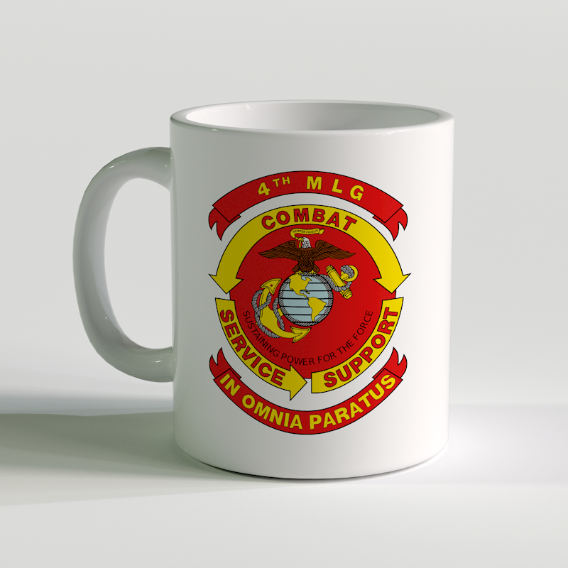 4th MLG Unit Coffee Mug, 4th MLG, In omnia paratus, usmc coffee mug